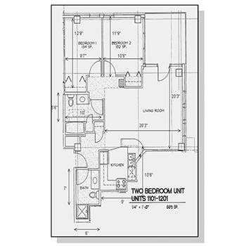 Two Bedroom Unit Floor Plan