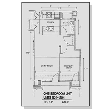 One Bedroom Unit Floor Plan