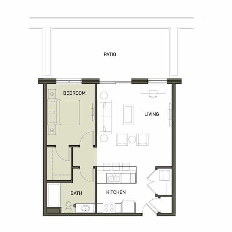 1 Bedroom Square Apt With Patio