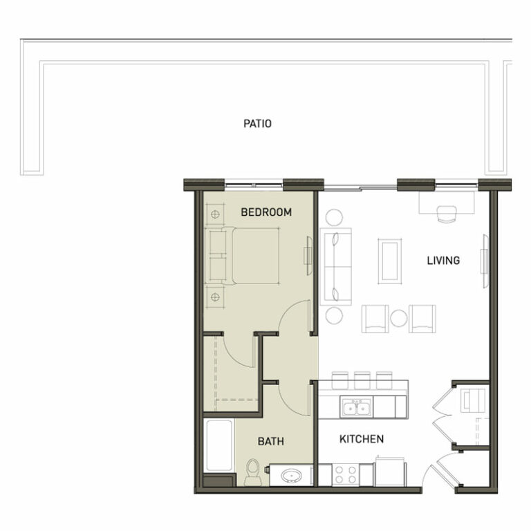 1 Bedroom With Large Patio