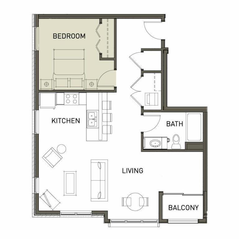L shaped 1 Bedroom Apt.