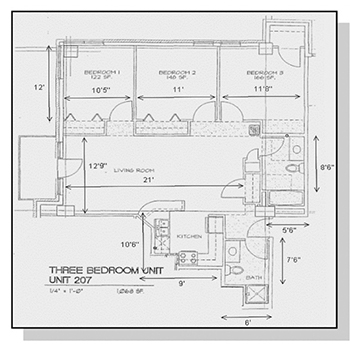 Three Bedroom Unit Floor Plan