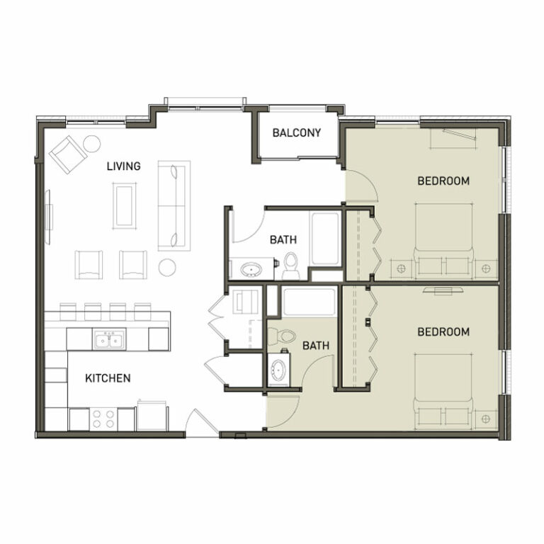 Evenly Spaced 2 Bedroom