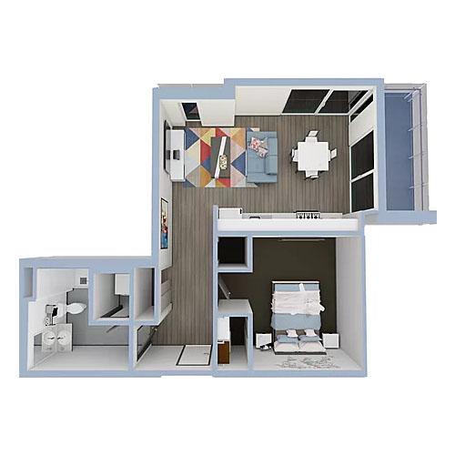 A4-1bedroom-500x