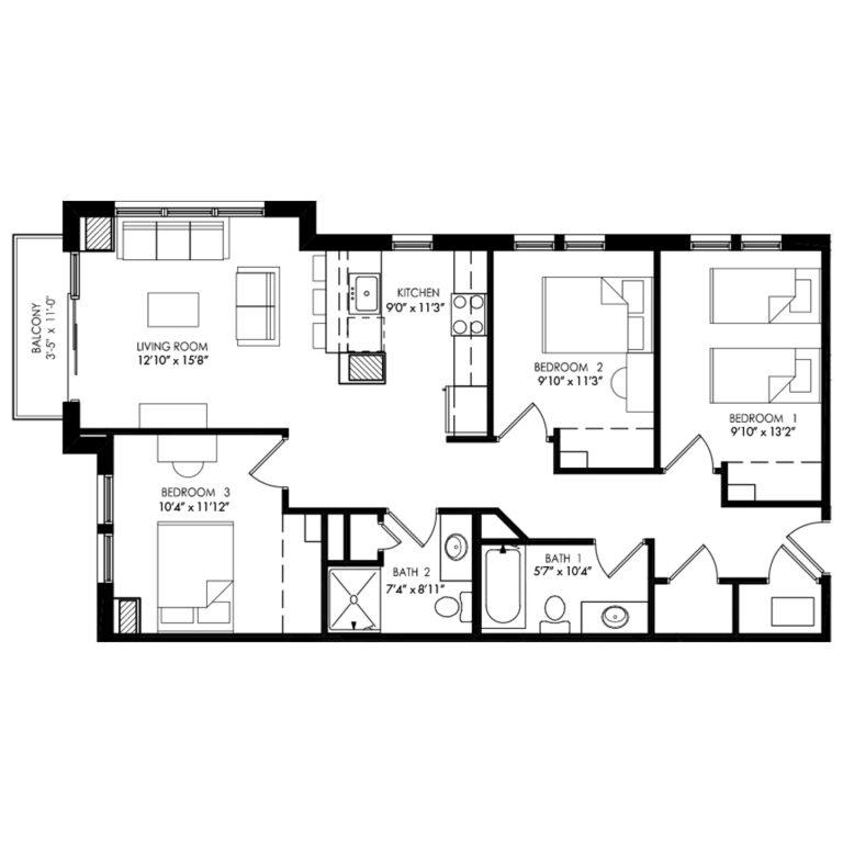 3 bedroom and 2 bath for rent floor plan