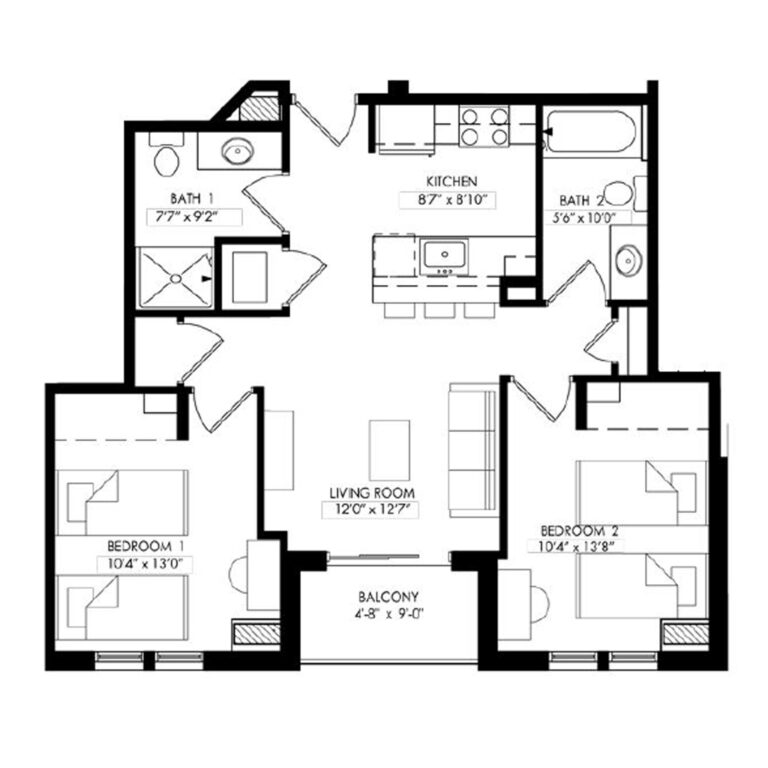 2 Bedrooms with 2 Baths and a Balcony