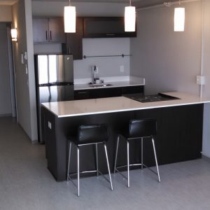 Kitchen with Stove in Bar