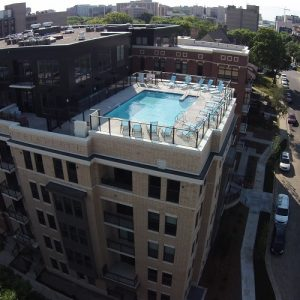 Drone View of Rooftop Pool