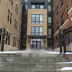 Waterfront Front Door during Snowfall