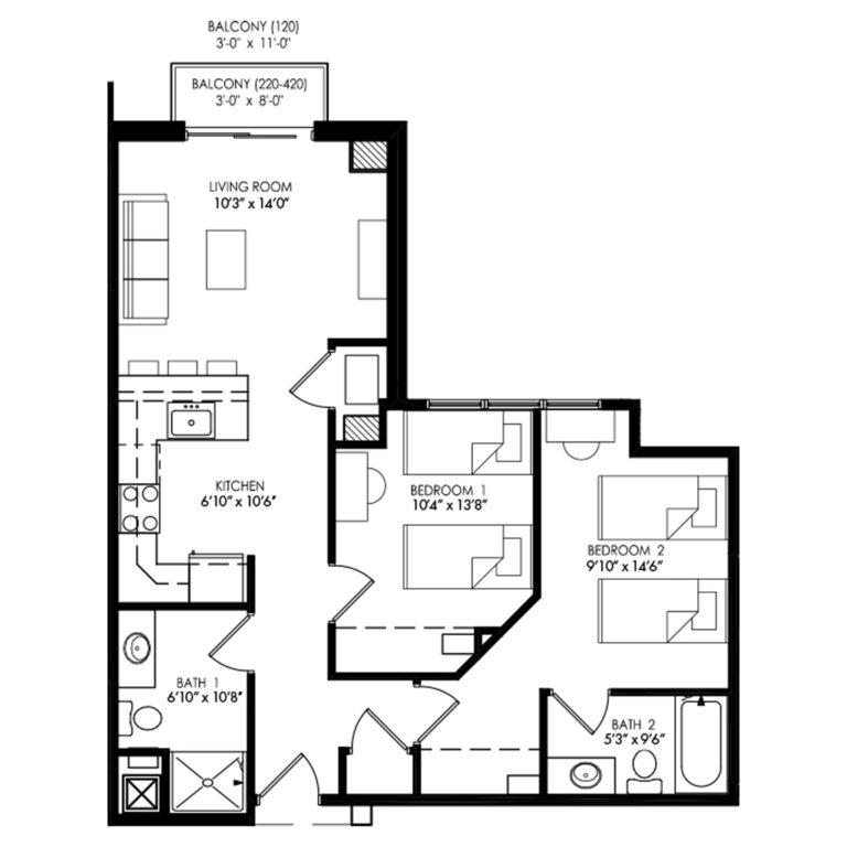 2 bedroom with large kitchen floor plan