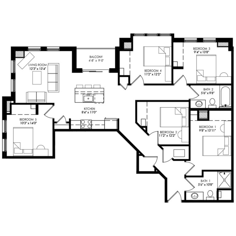 5 Bedrooms for Rent at Waterfront Apartments