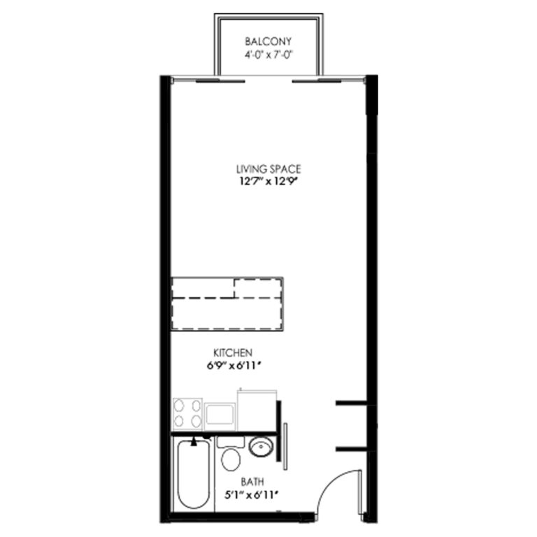 Studio Apartment with Balcony and Kitchen