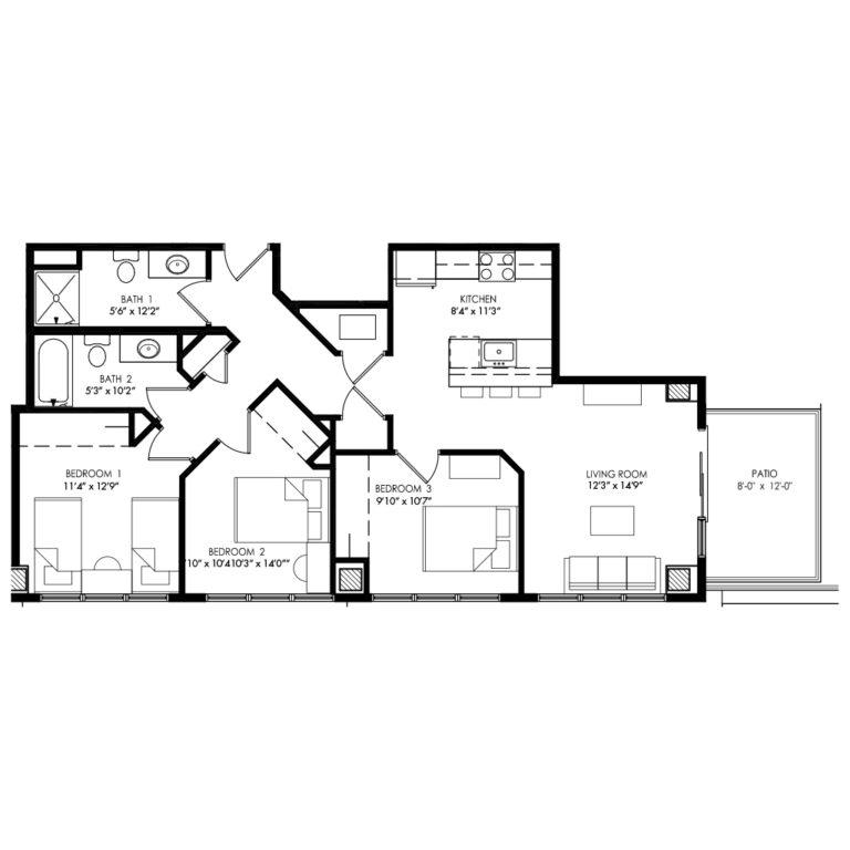 3 bedroom floor plan with unique but spacious shape