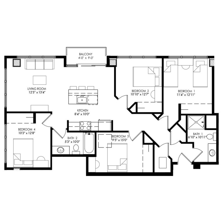 4 Bedroom apartment with lots of living room and kitchen space
