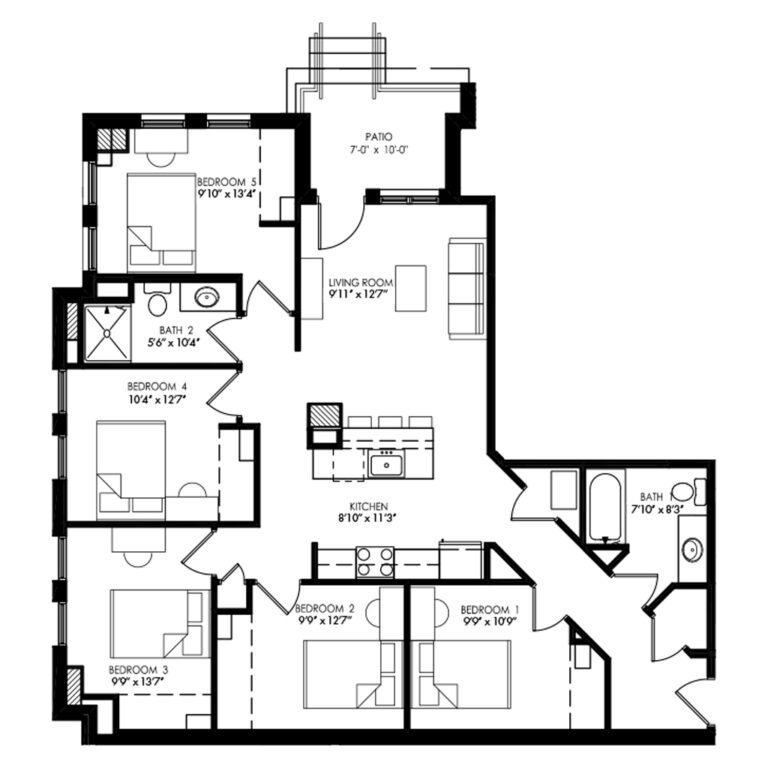 5 Bedroom and 2 Bath apartment with Patio