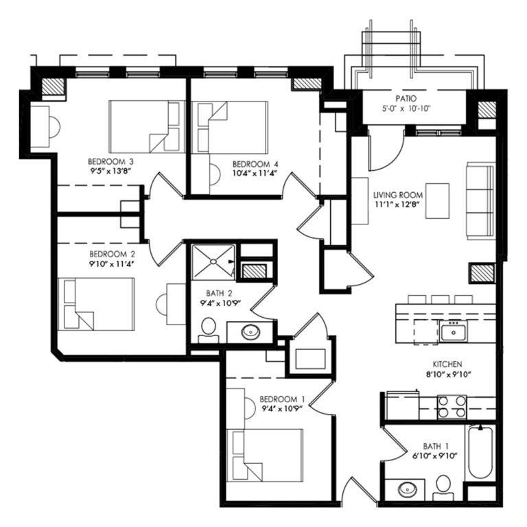 4 Bedroom apartment in Madison for rent floor plan